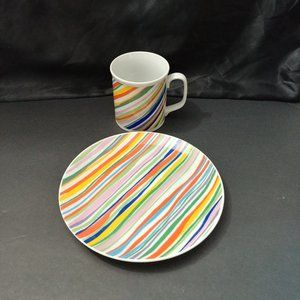 """Mann Candy Stripe """"Candy is Dandy"""" Plate & Cup Set"""